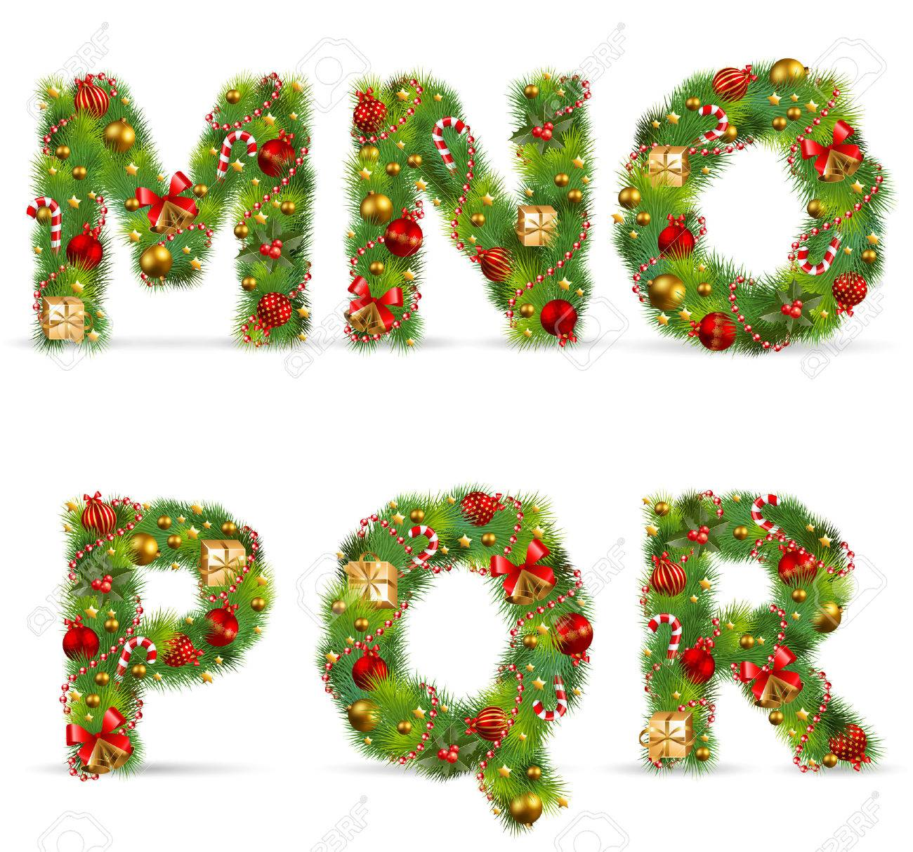 MNOPQR, Vector Christmas Tree Font With Green Fir And Baublest ...