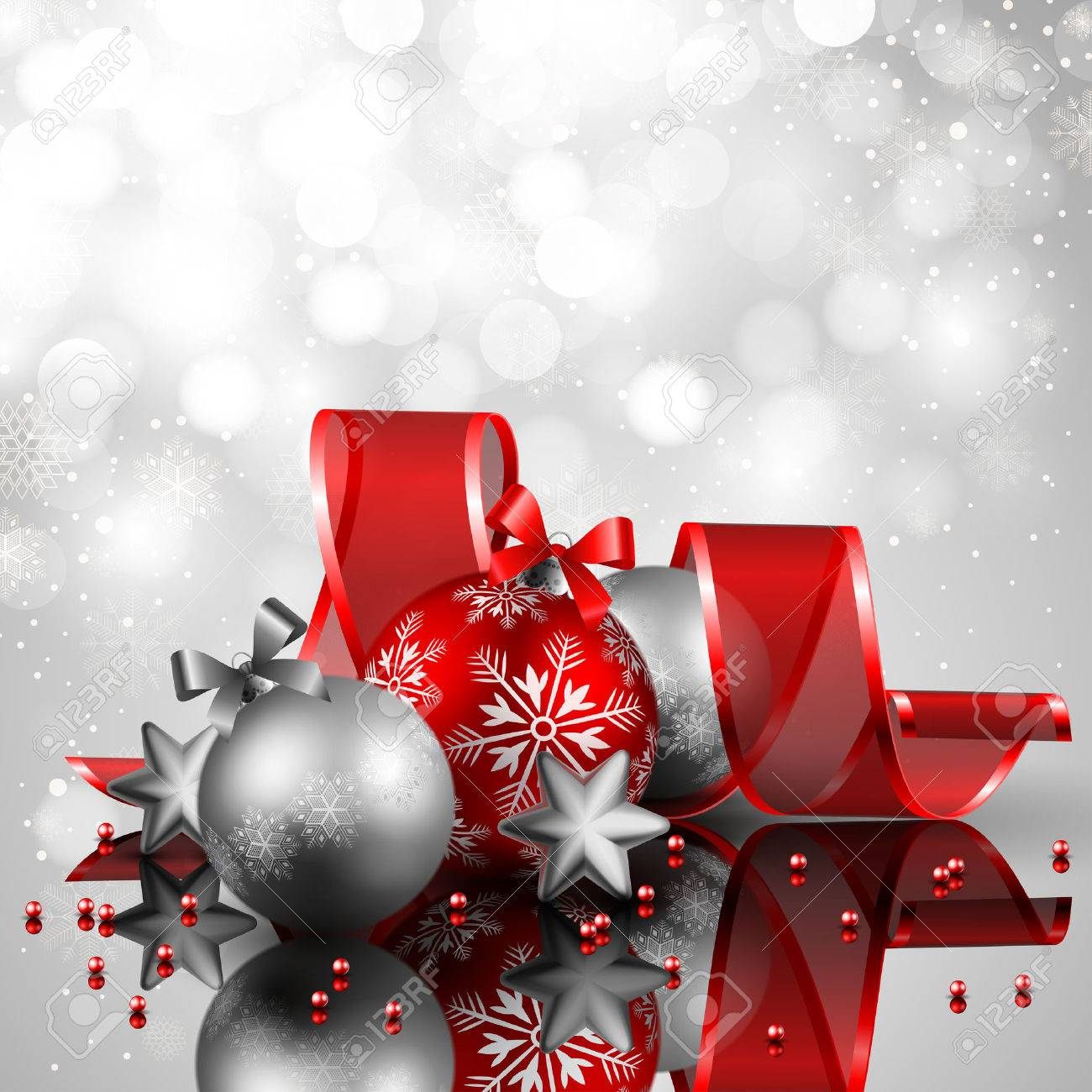 beautiful silverand red christmas background Stock Vector - 8448328