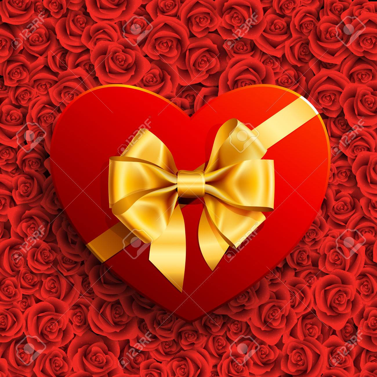 Red heart shape gift with golden bow on roses background Stock Vector - 8698771