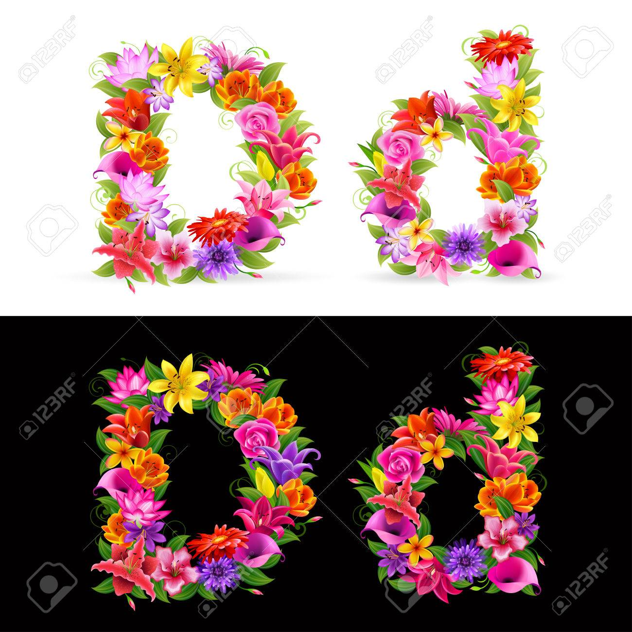 D, colorful flower font on white and black background. Stock Vector - 8710206