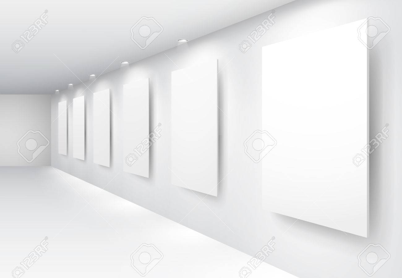 Gallery Interior with empty frames on wall Stock Vector - 8977524