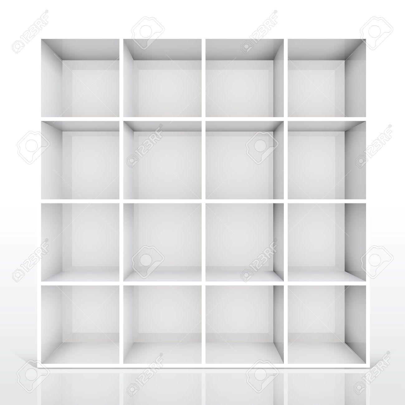 3d isolated Empty white bookshelf. Vector illustration Stock Vector - 9088808