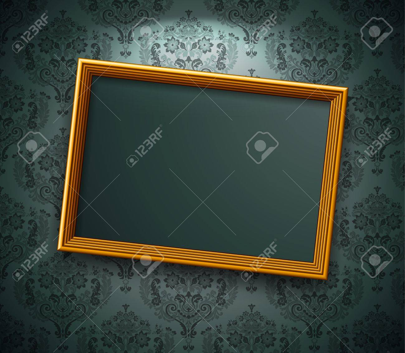 Golden frame on the wall. Vintage background Stock Vector - 9194613