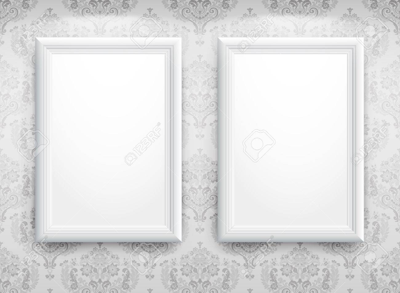 3d Empty Frames On The Wall. Vintage Background Royalty Free ...