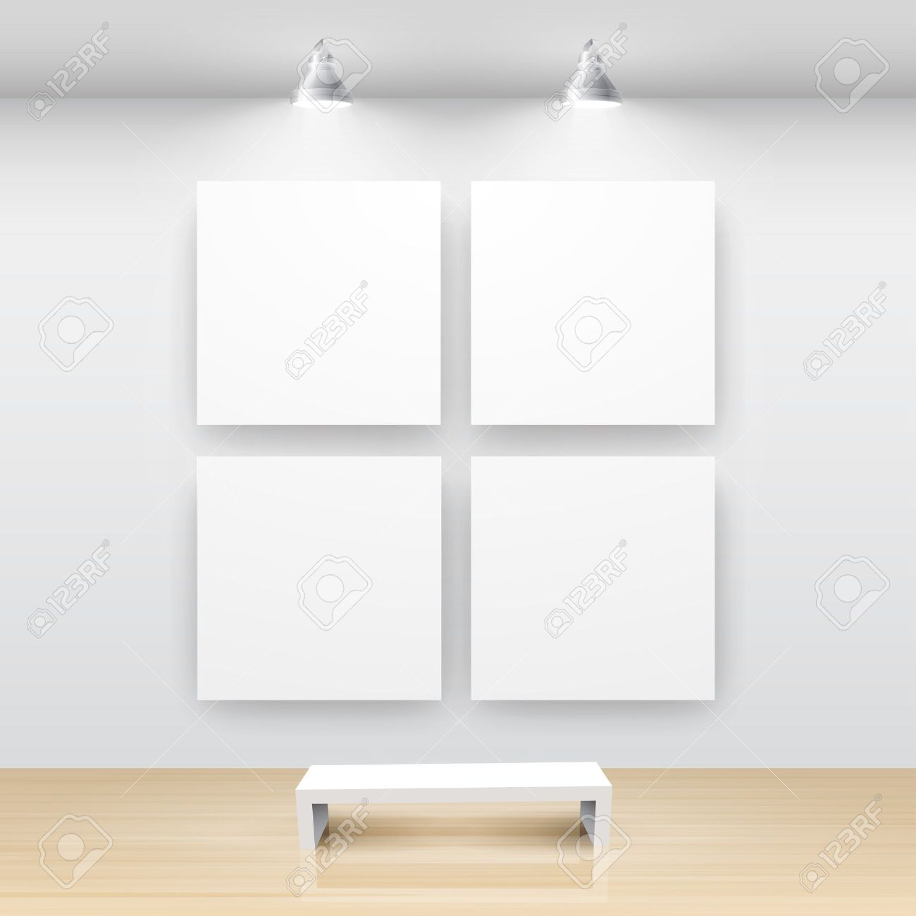 Gallery Interior with empty frame on wall - 9316195