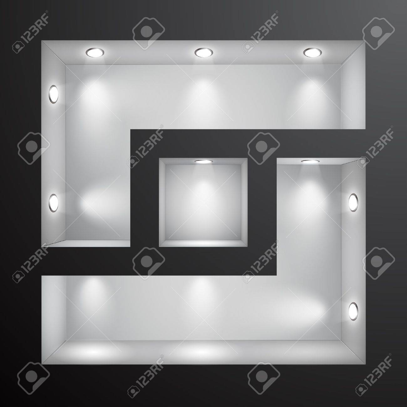 3d Empty shelf for exhibit in the wall. Stock Vector - 9316197
