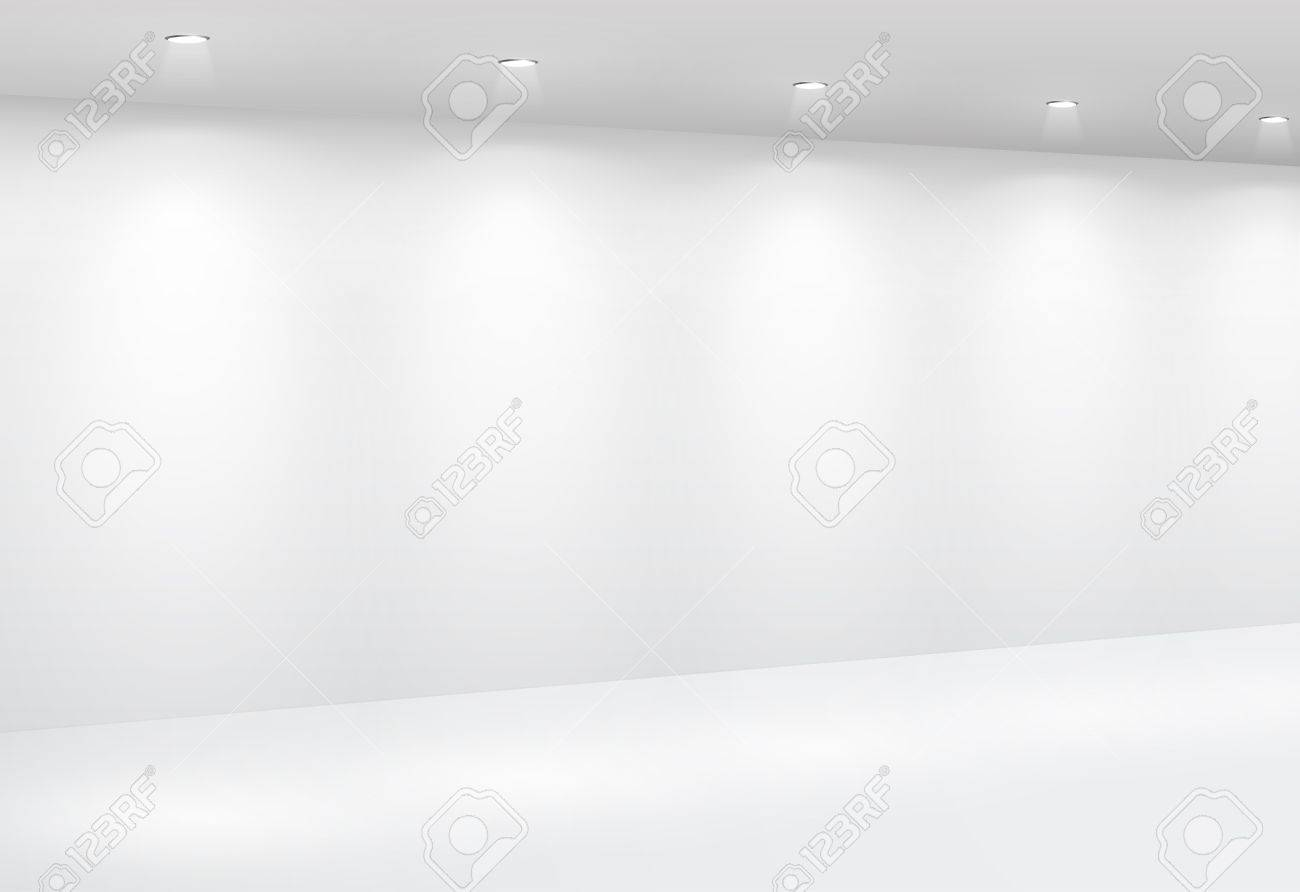Gallery Interior with empty wall and lights Stock Vector - 9316198