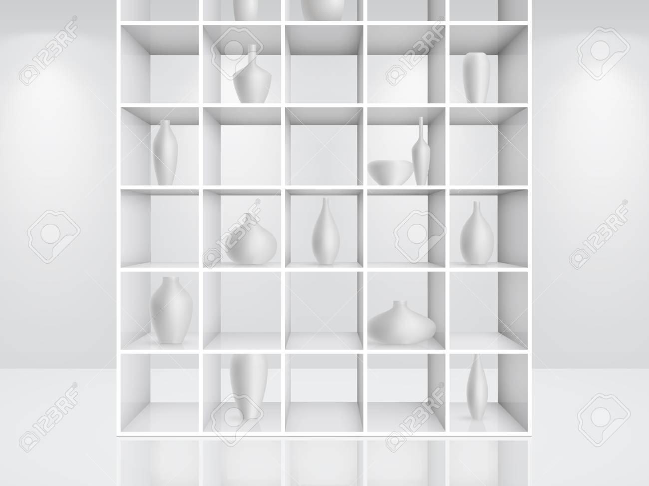 3d isolated Empty white bookshelf. Stock Vector - 9566410