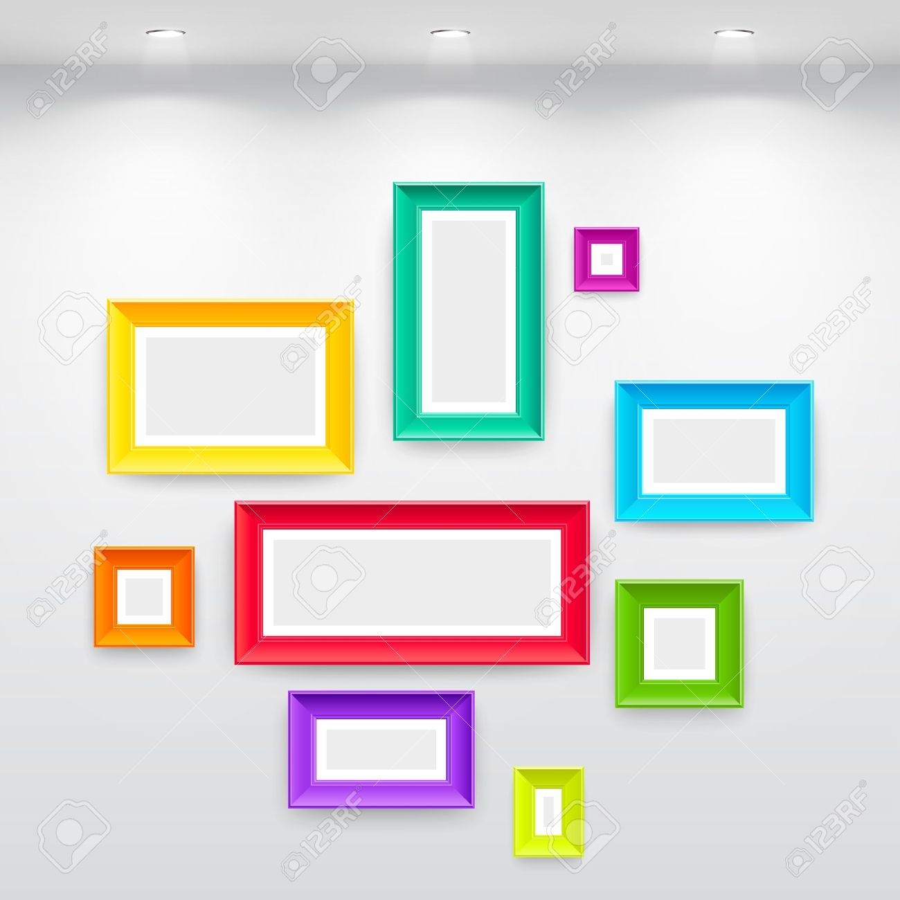 Galería Interior Con Marcos Coloridos Vacíos En Pared Ilustraciones ...