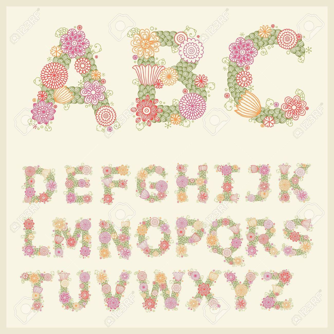 colorful flower font royalty free cliparts vectors and stock