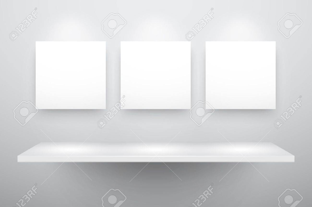 3d isolated Empty shelf for exhibit and three frames. Stock Vector - 9566422