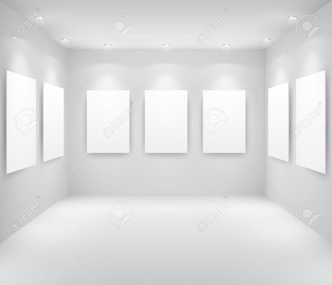 gallery interior with empty frames on wall stock vector 9566423