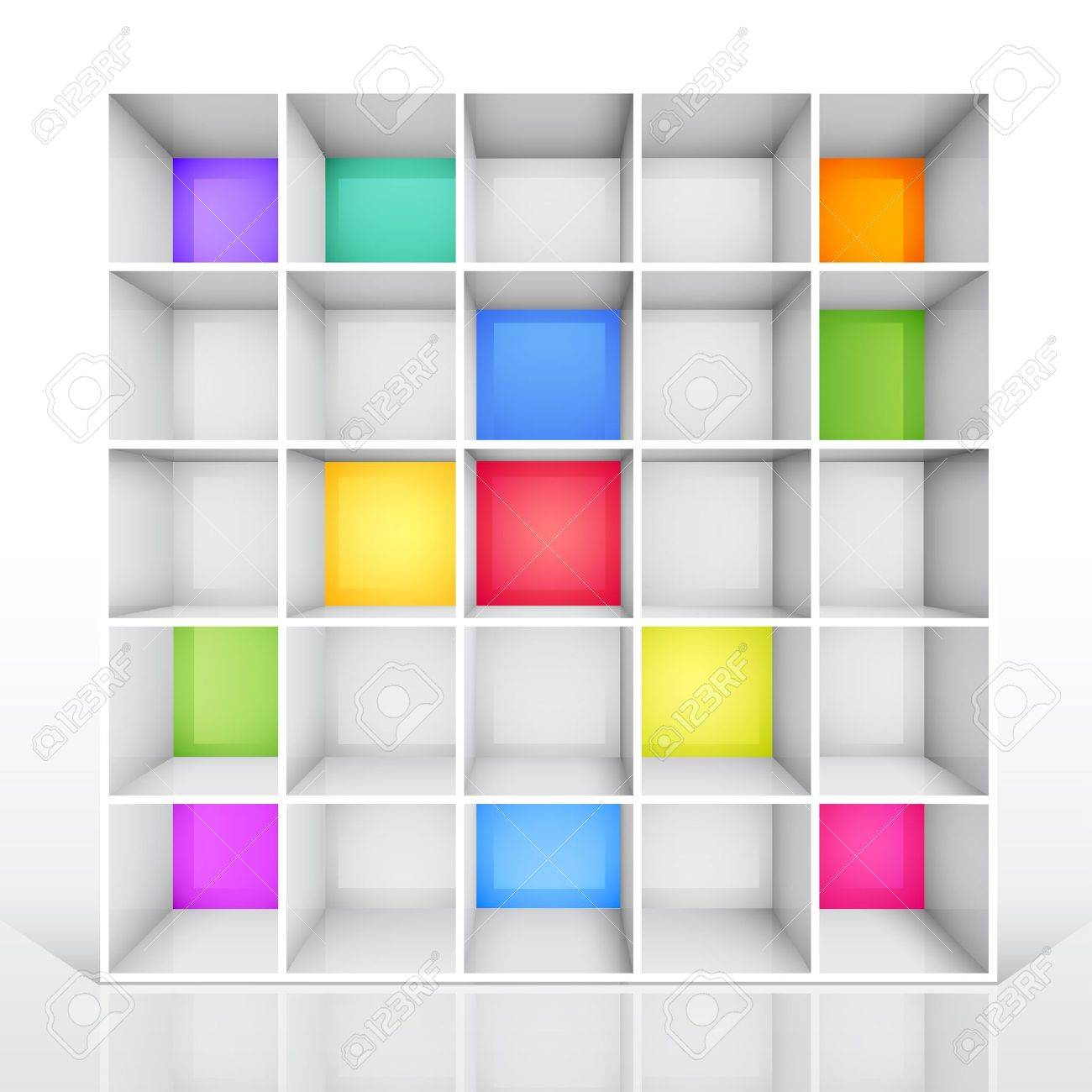 3d isolated Empty colorful bookshelf. Stock Vector - 9566439 - 3d Isolated Empty Colorful Bookshelf. Royalty Free Cliparts