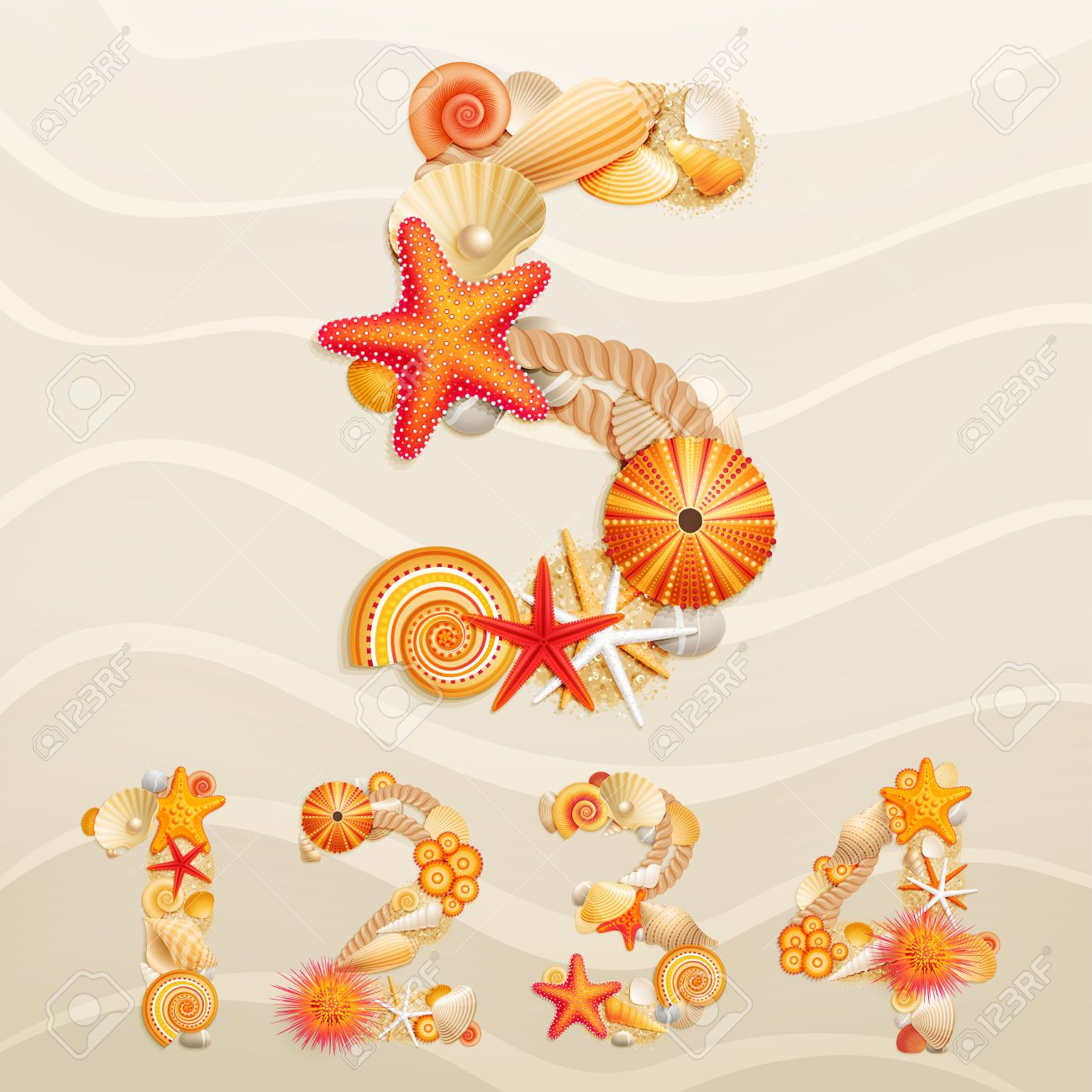 Numbers, vector sea life font on sand background. Stock Vector - 10394423