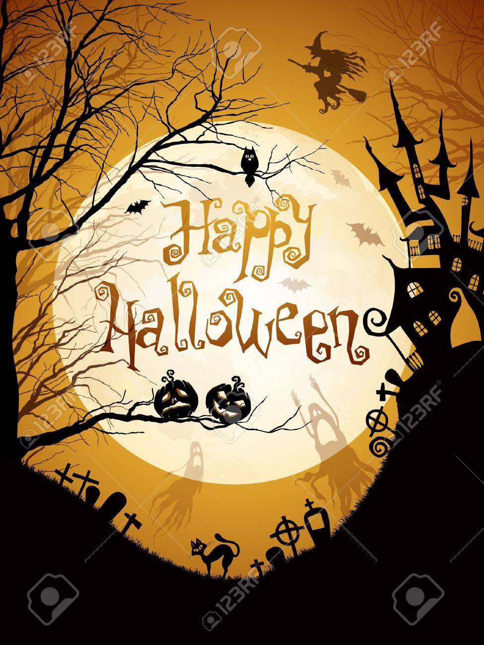 Halloween illustration with black silhouettes on moon background. Stock Vector - 10944495