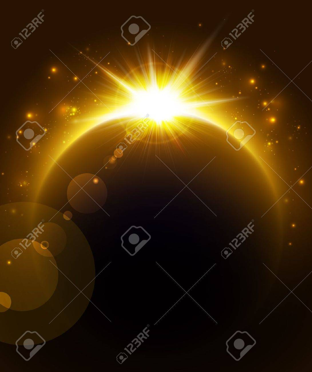 Rising Sun over the planet. Stock Vector - 10944488