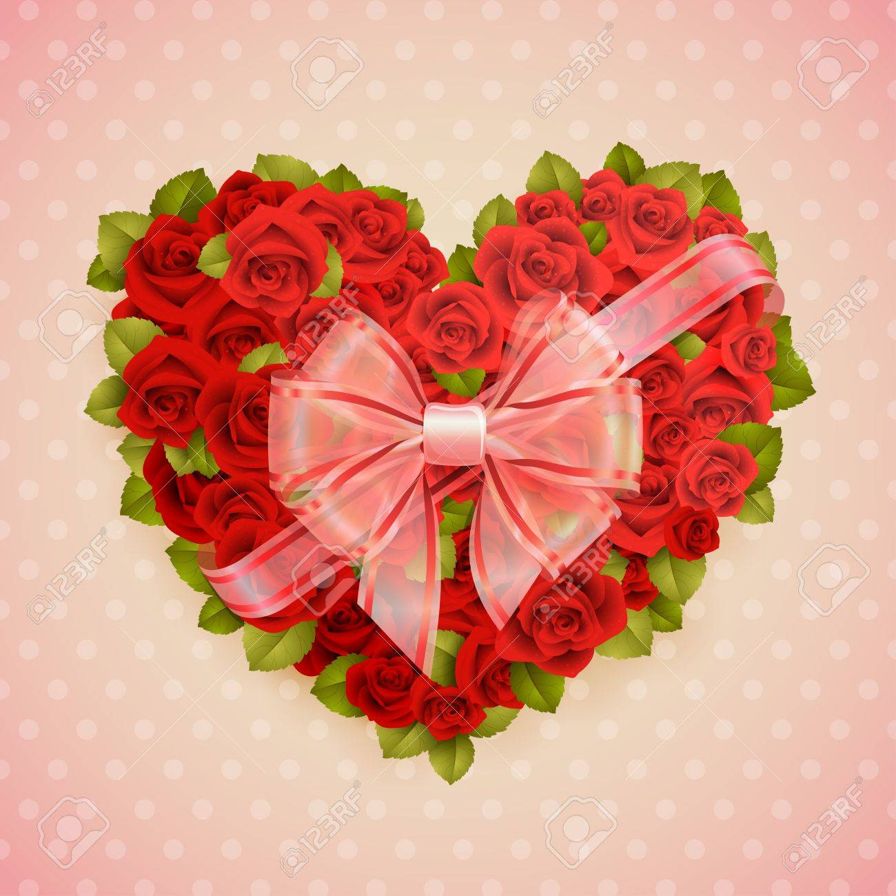 Valentine s Day card with roses heart and place for text Stock Vector - 14677993