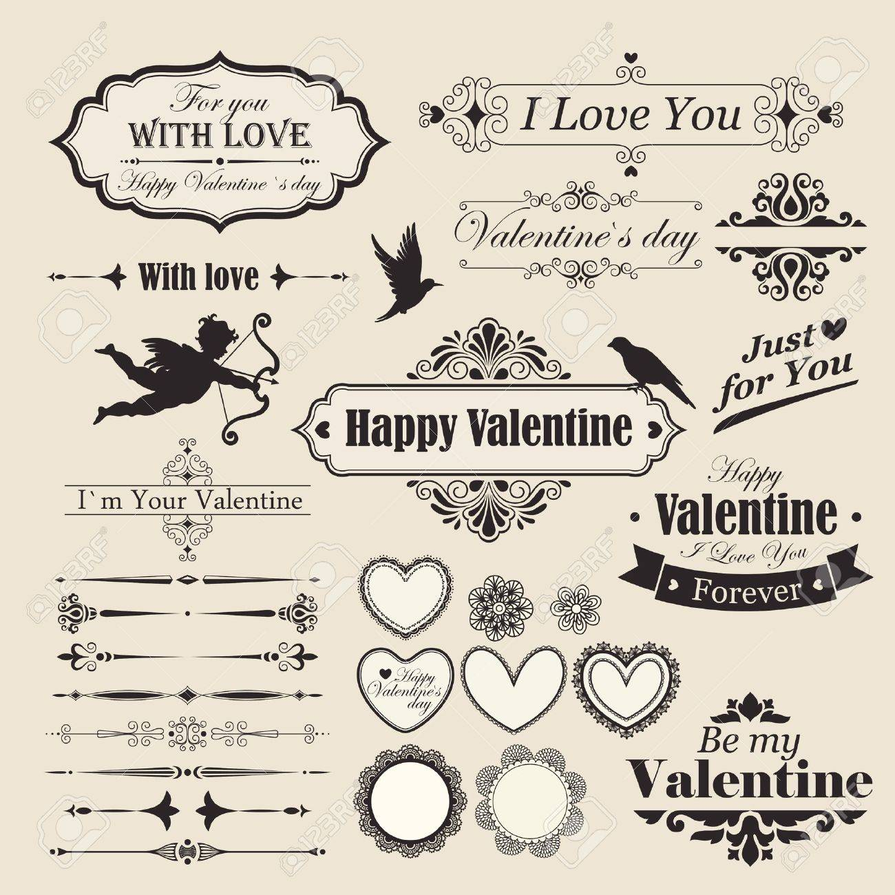 Valentine s Day vintage design elements and letterning Stock Vector - 14678040