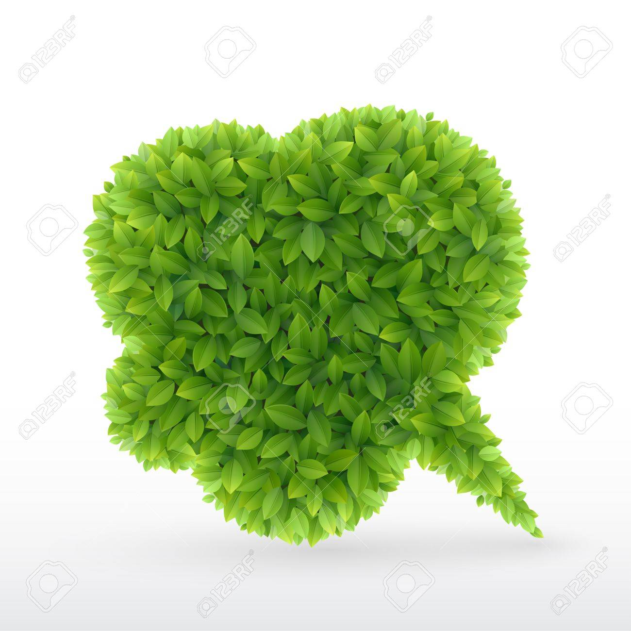 Eco Friendly Bubble for speech, Green leaves   illustration Stock Vector - 14677970