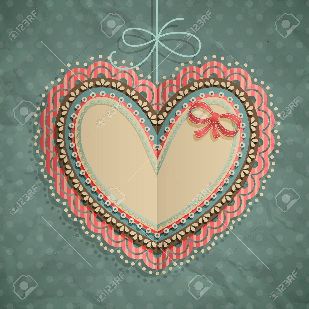 Valentine s Day vintage card with heart and place for text Stock Vector - 14748538