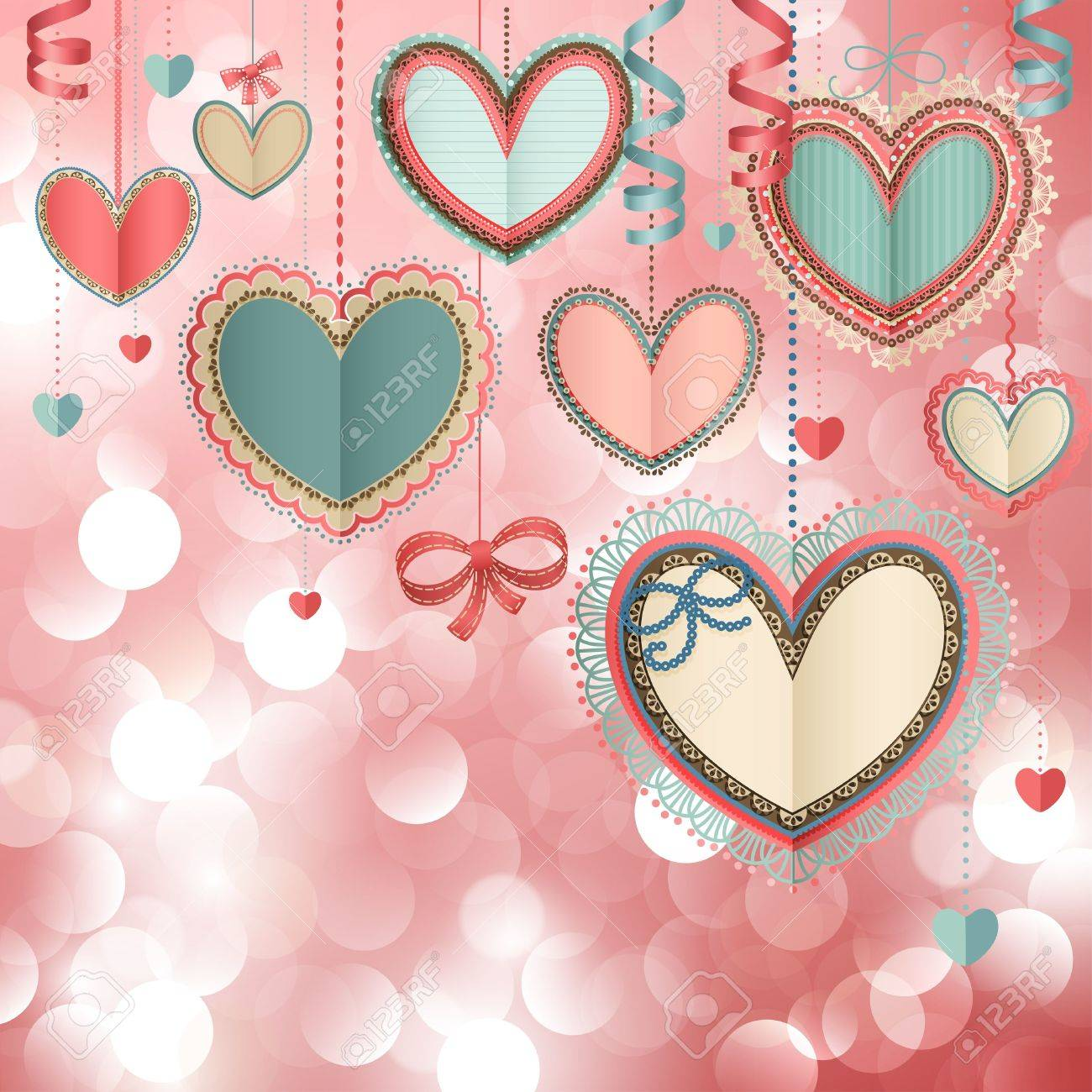 Valentine s Day vintage card with lacy paper hearts and place for text Stock Vector - 14748570