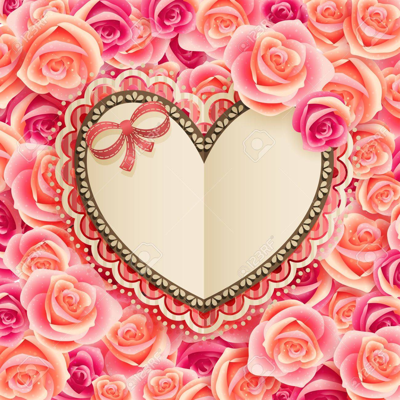 Valentine s Day vintage card with place for text on roses Stock Vector - 14748373