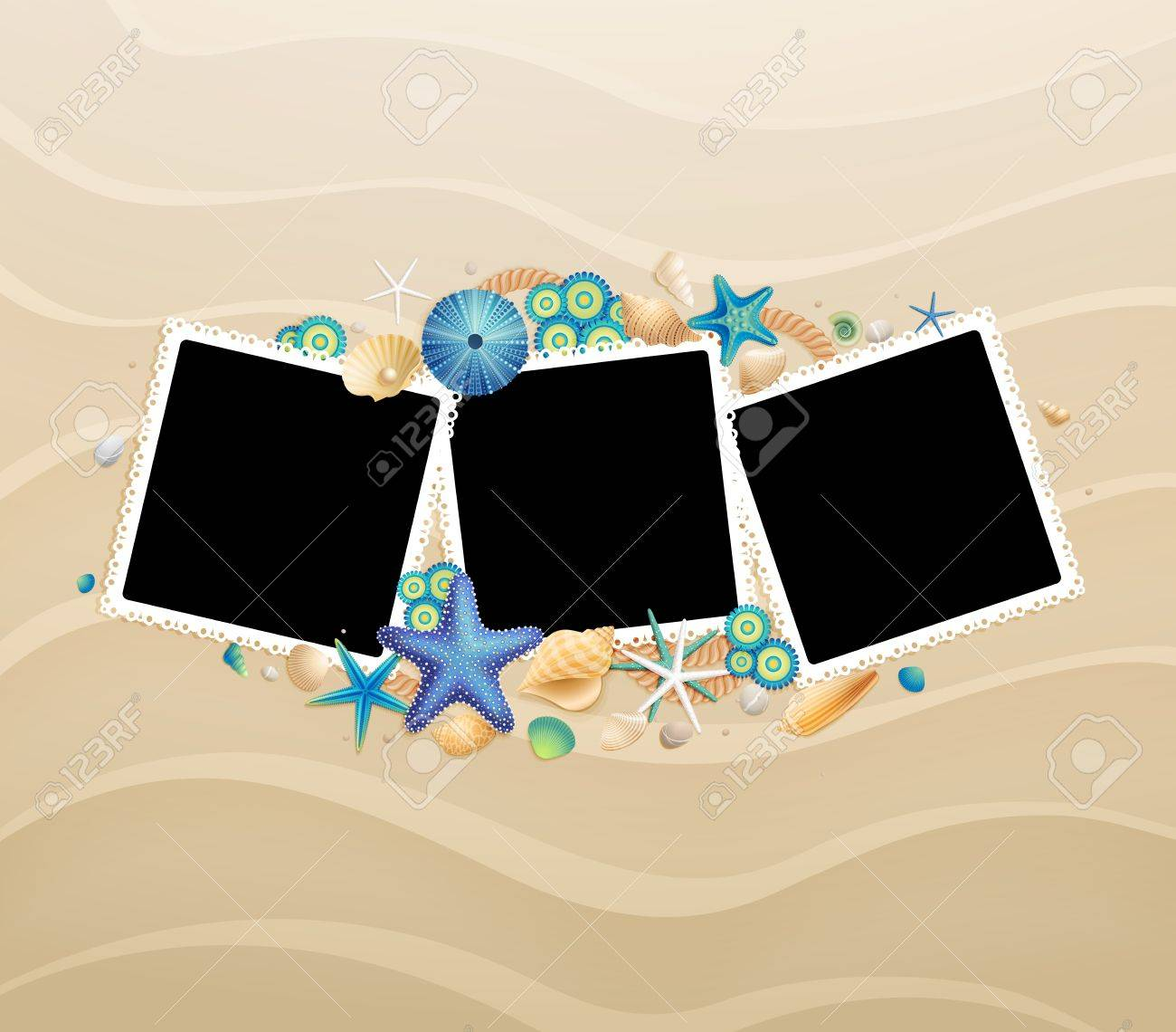 Pictures, shells and starfishes on sand background  Vector illustration Stock Vector - 14748582