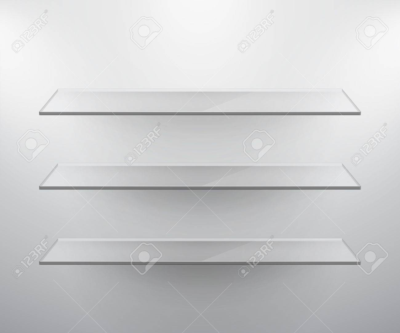 Glass isolated Empty shelves for exhibit. Vector illustration. Stock Vector - 14748526