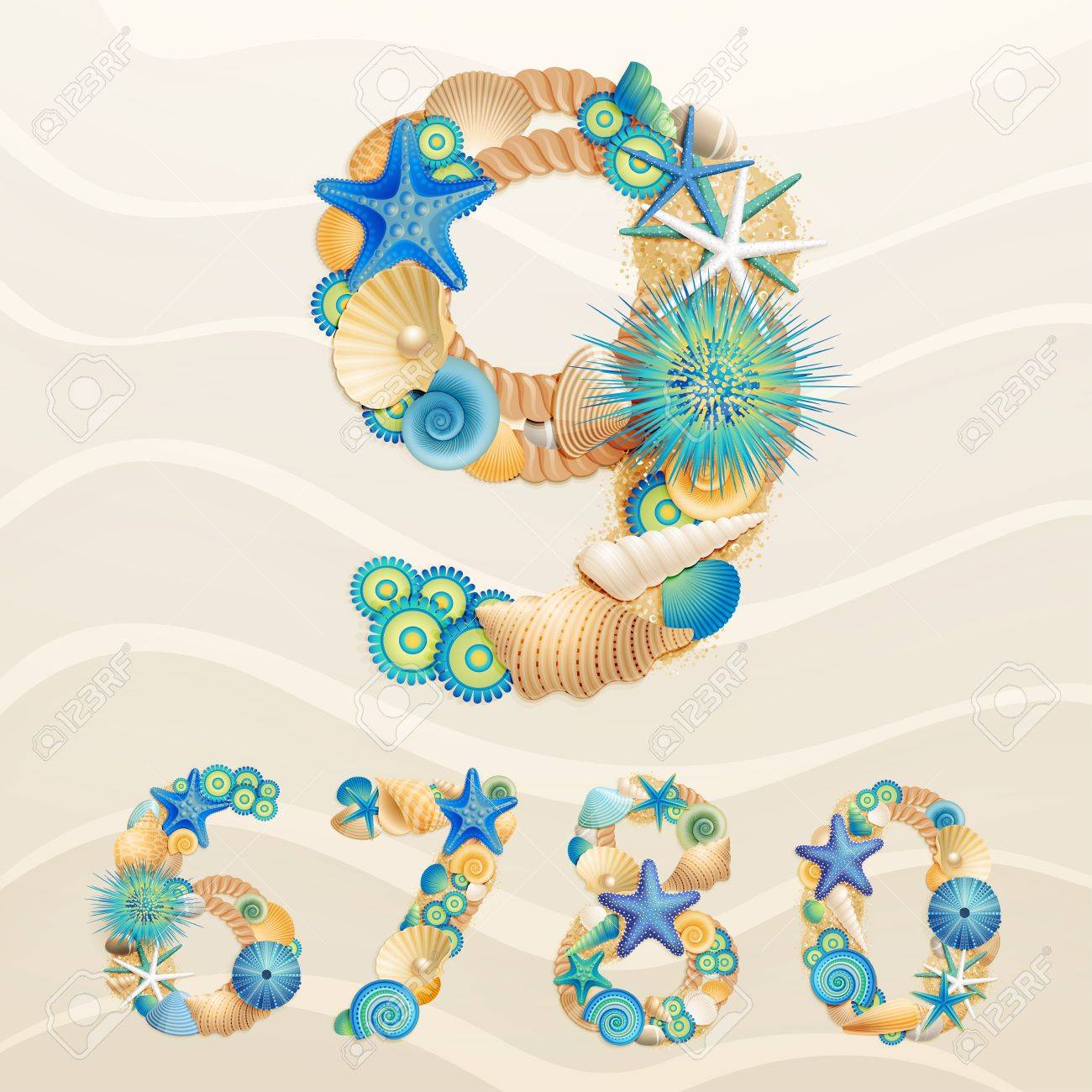 Numbers, sea life font on sand background. Check my portfolio for letters. Stock Vector - 14748625