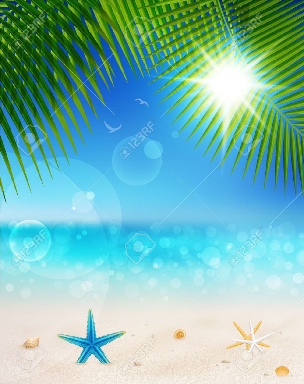 Beautiful seaside view on sunny day with sand,shells  and palm leaves. Summer holidays background. Stock Vector - 14749001