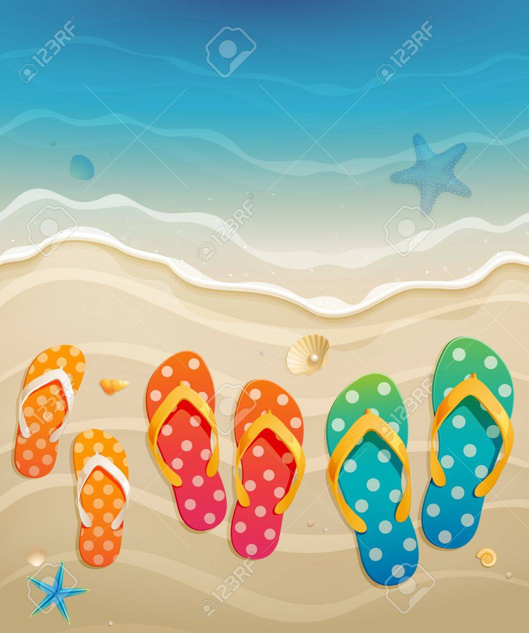 88302c20e Holiday greeting card with family flip-flops illustration Stock Vector -  14749123