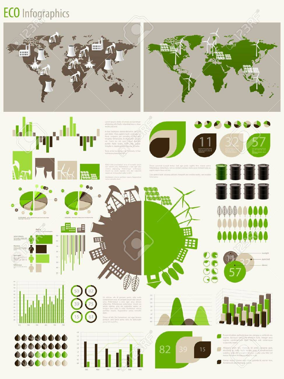 Green energy and ecology Infographic set with charts and other elements. Stock Vector - 14749053