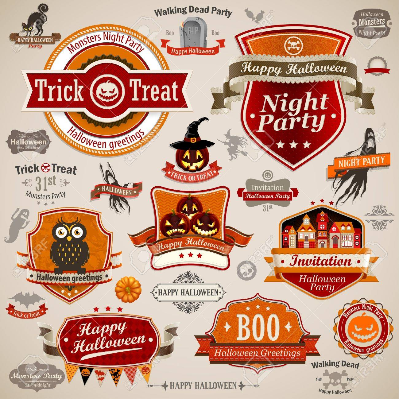 Halloween vintage set - labels, ribbons and other decorative elements Stock Vector - 15730579