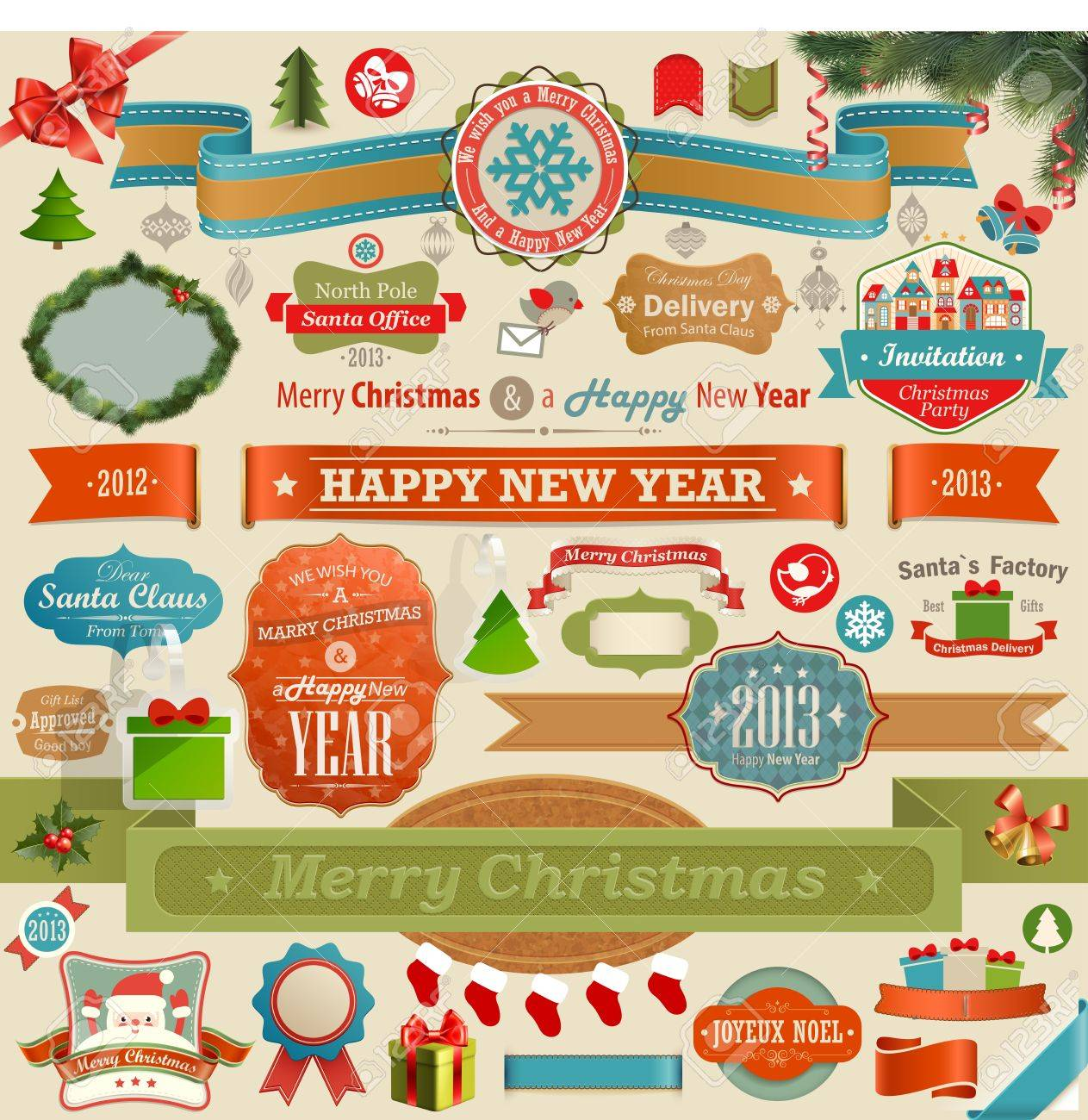Christmas set - vintage ribbons, labels and other decorative elements   illustration Stock Vector - 16441577
