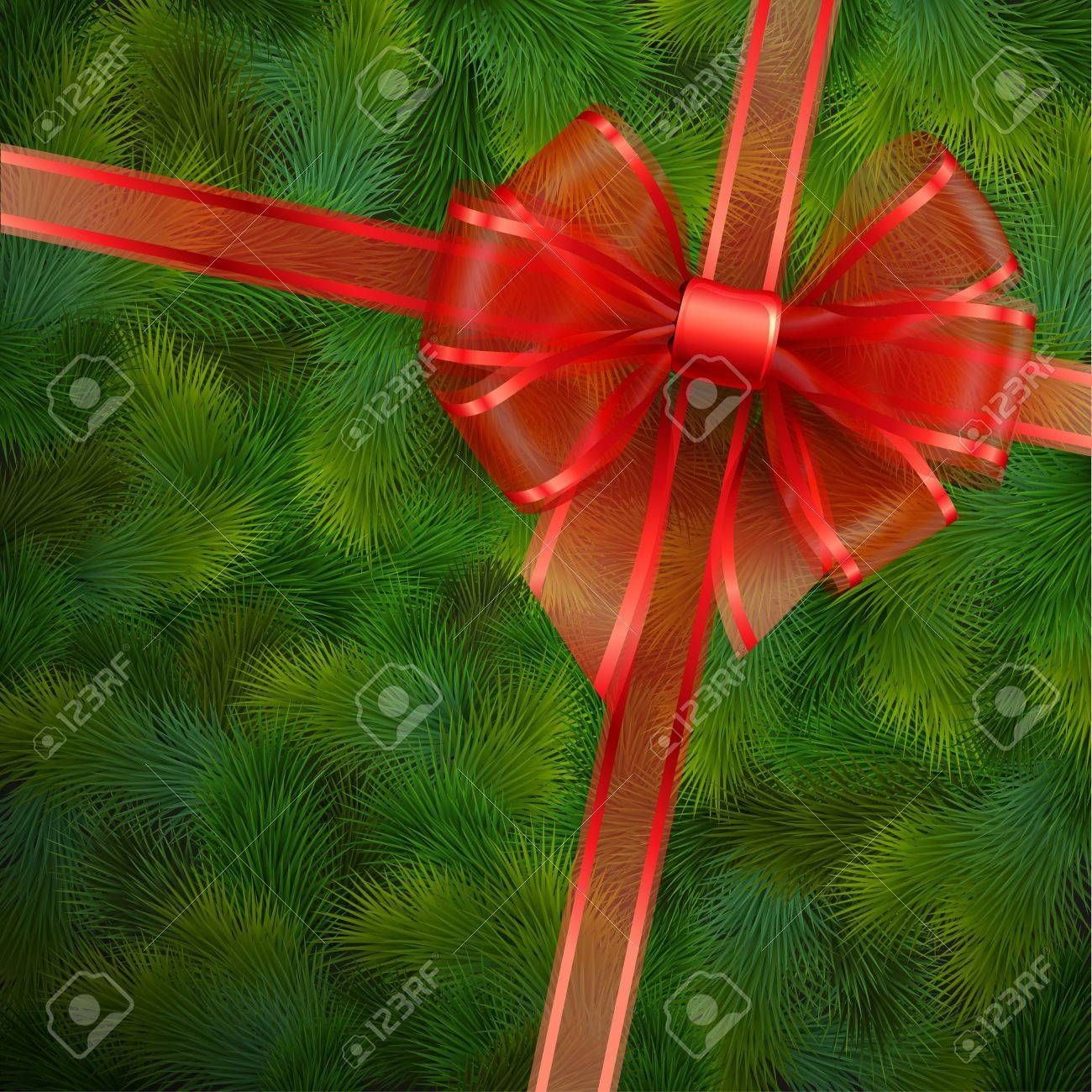 Christmas card - Red transparent bow on fir tree texture   illustration Stock Vector - 16441568