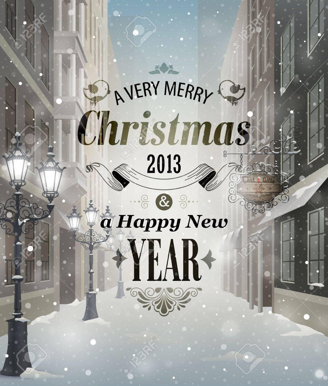Christmas greeting card - snowy street. Stock Vector - 16693086