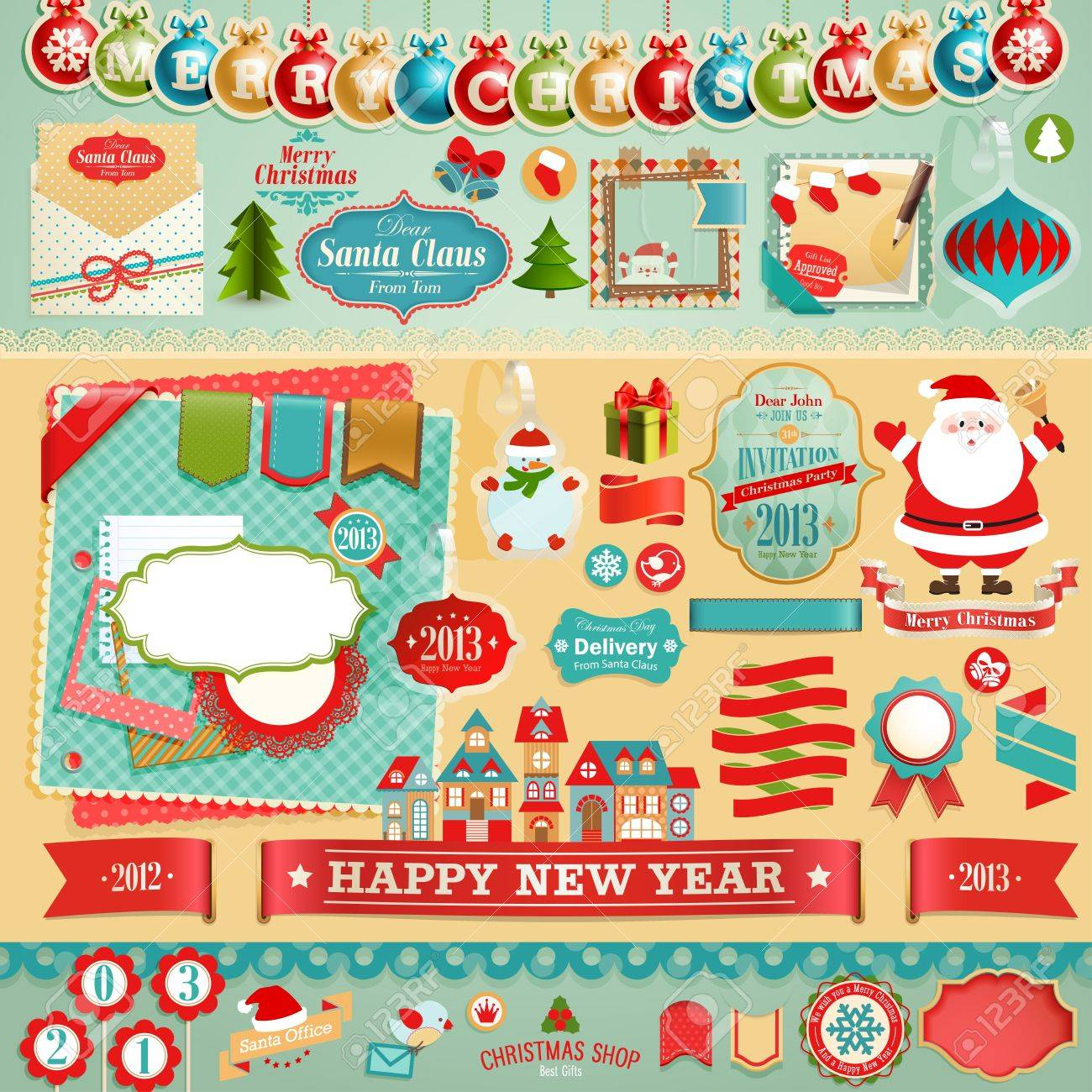 Christmas Scrapbook set - ribbons, emblems and other decorative elements Stock Vector - 16934983