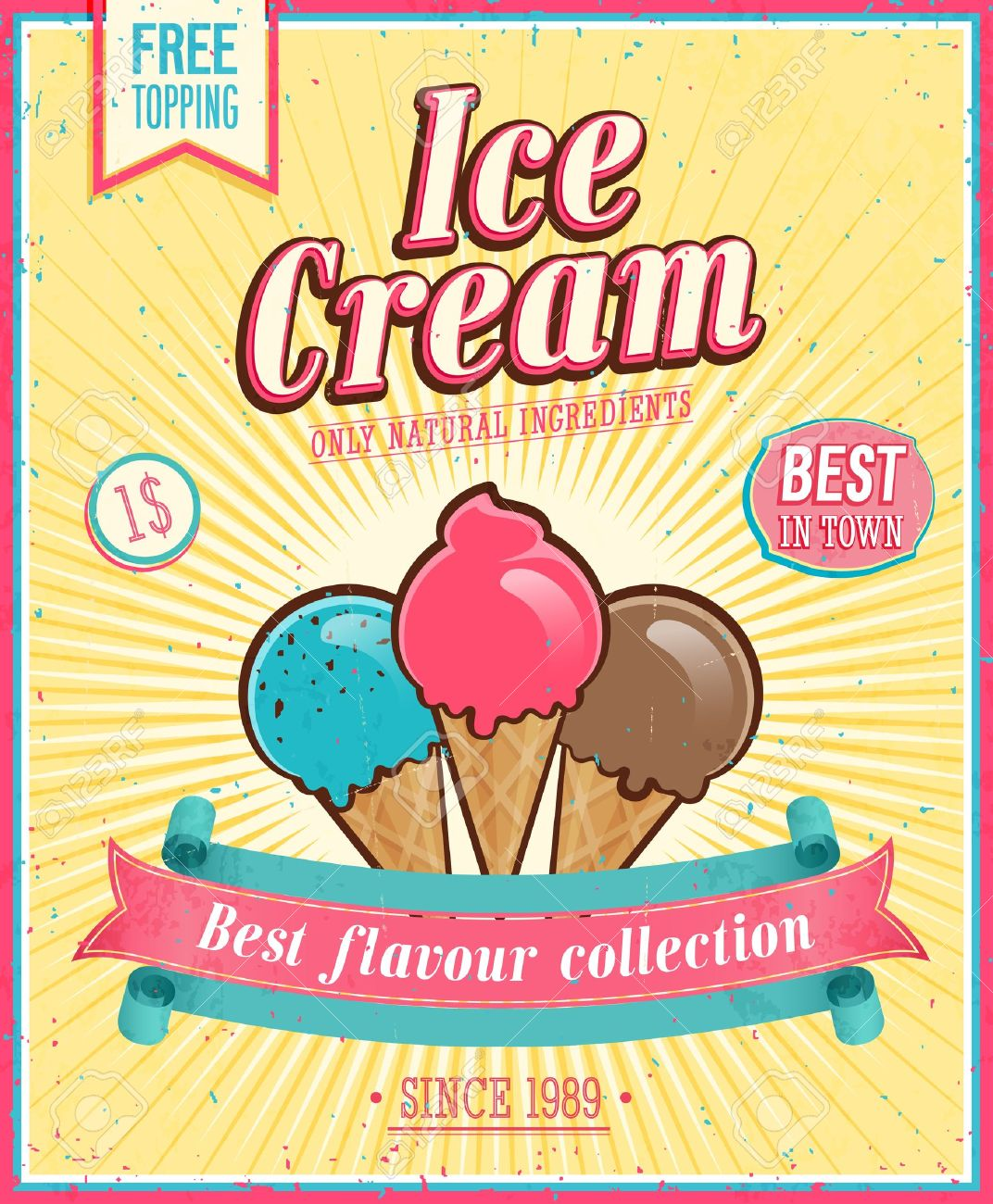 Vintage Ice Cream Poster. Royalty Free Cliparts, Vectors, And ...