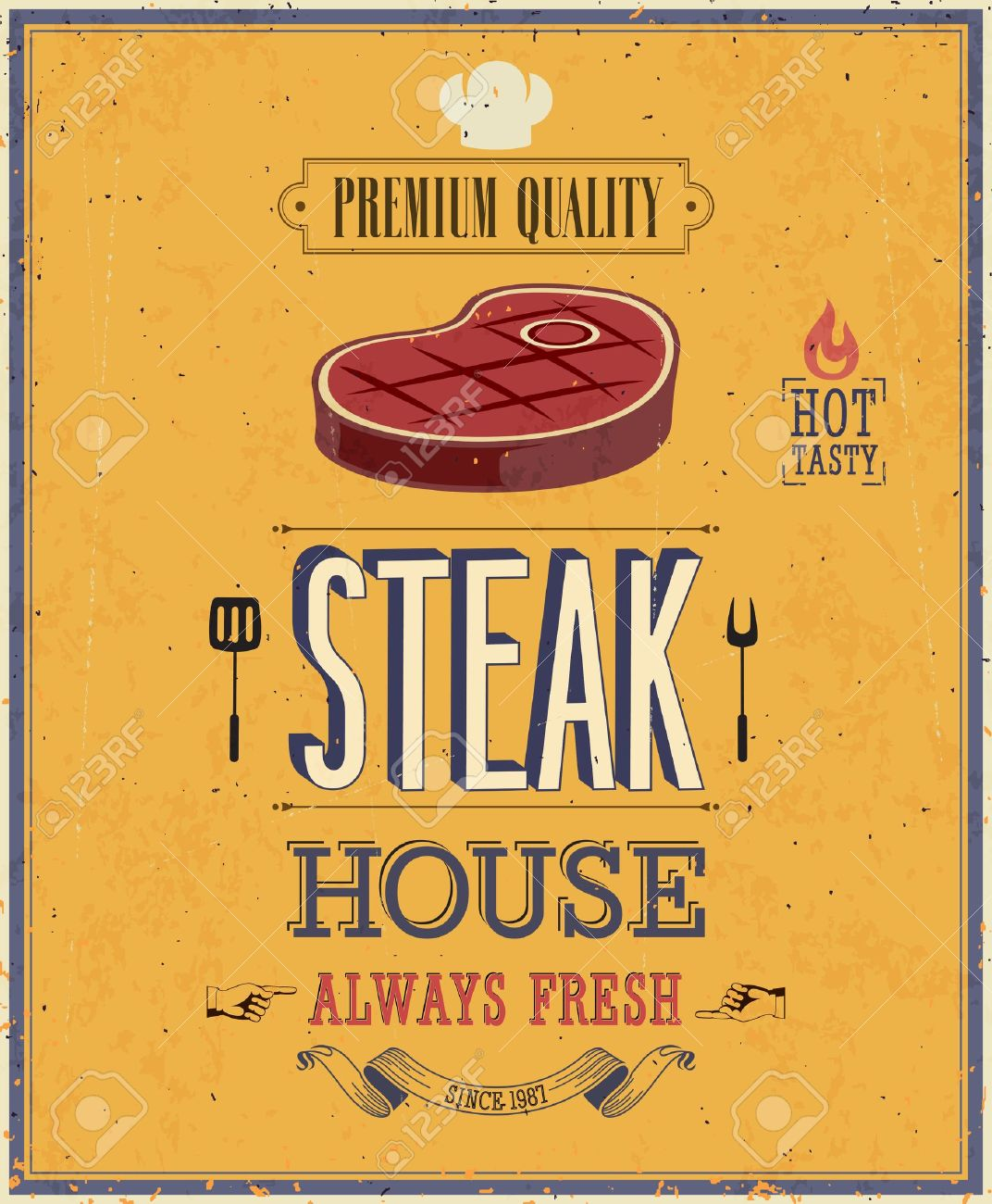 Vintage Steak House Poster. Stock Vector - 21852670