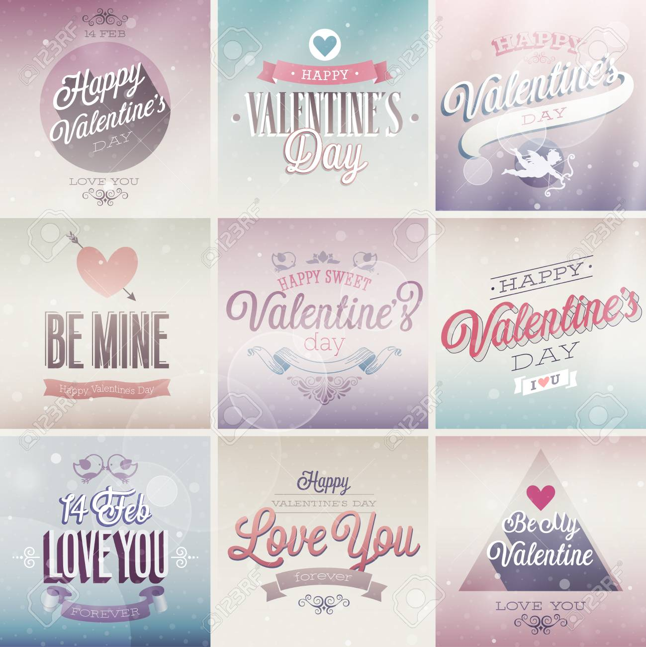 Valentine`s day set - labels, emblems and other decorative elements. Stock Vector - 25319424