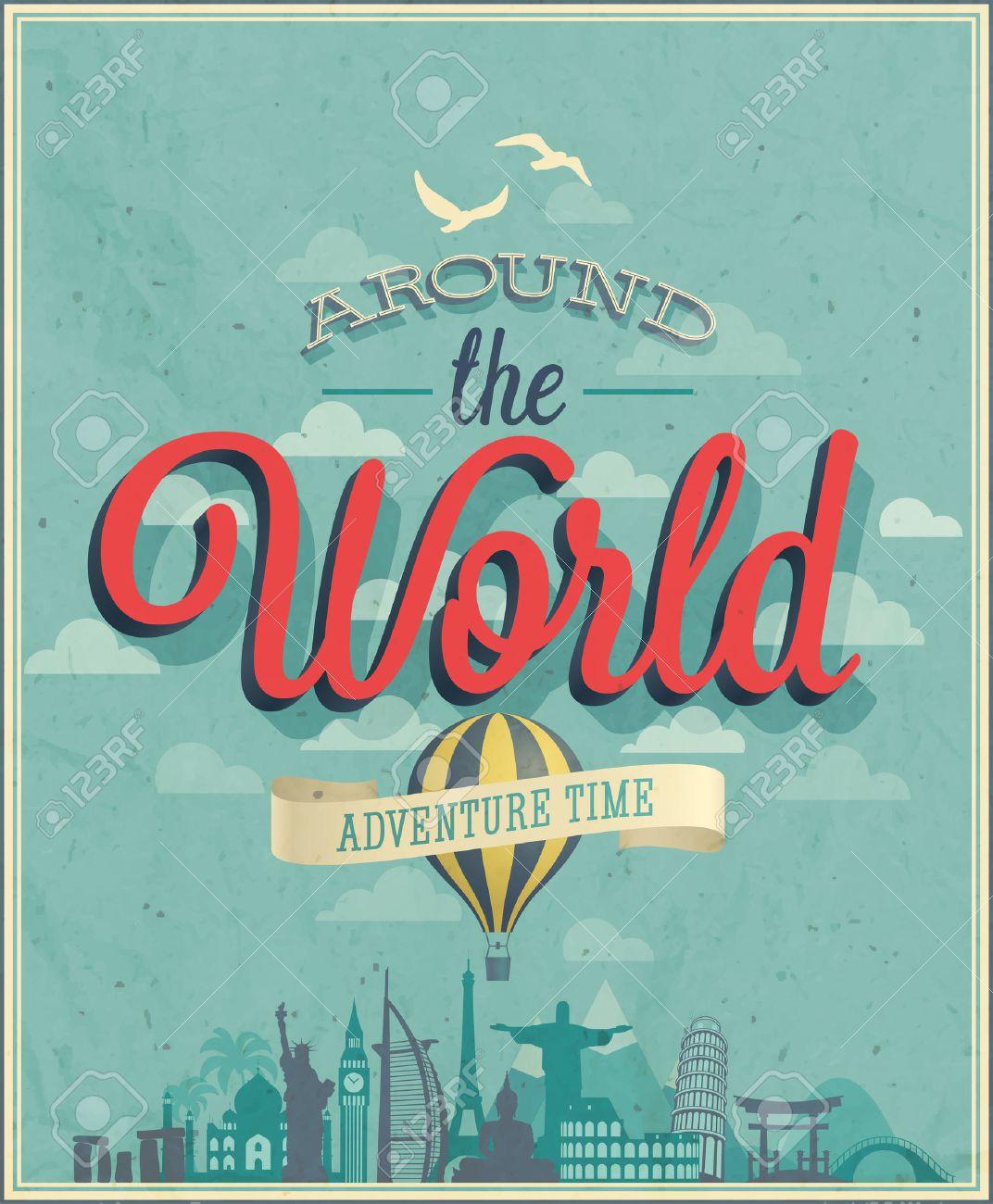 Around the world poster illustration. - 29044423