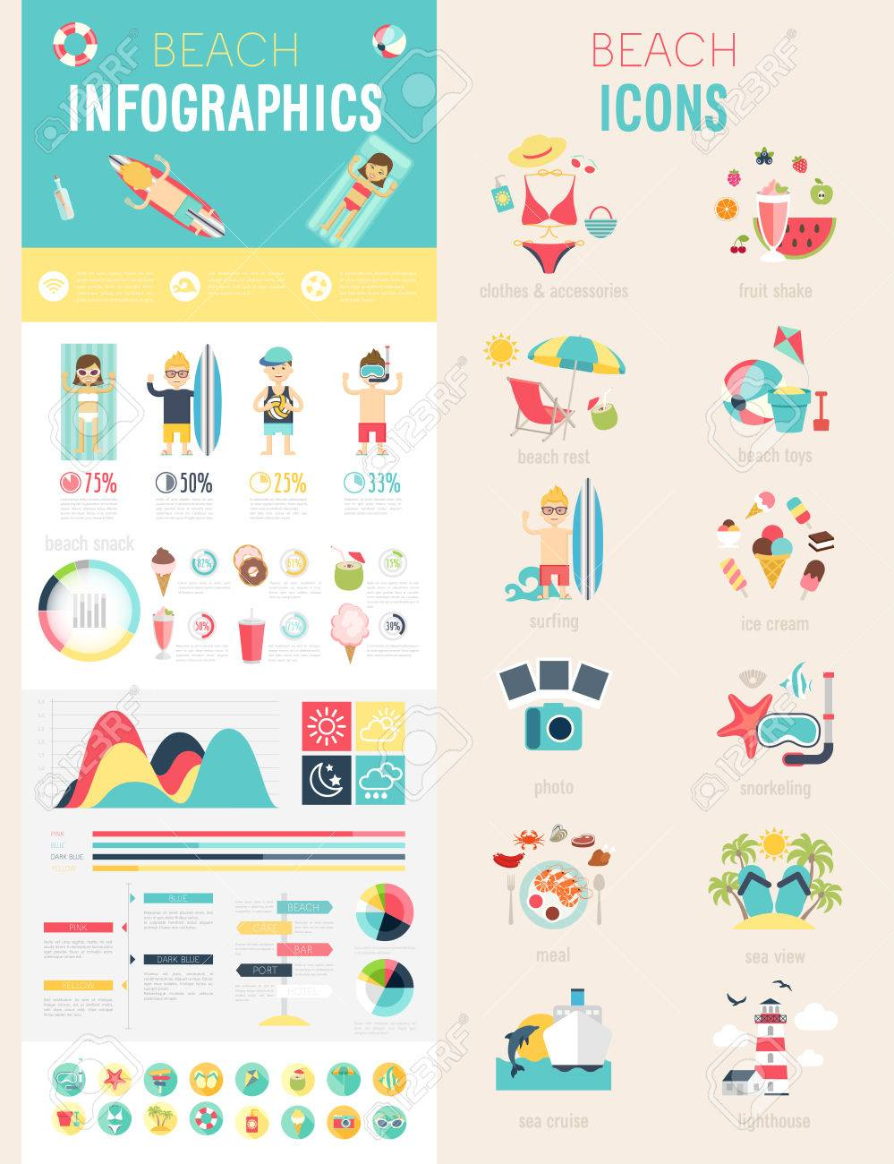 Beach Infographic set with charts and icons. Vector illustration. - 39095540