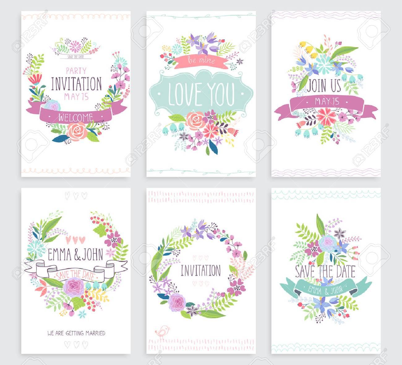 Romantic Floral hand drawn card set. Vector illustration. - 40209676