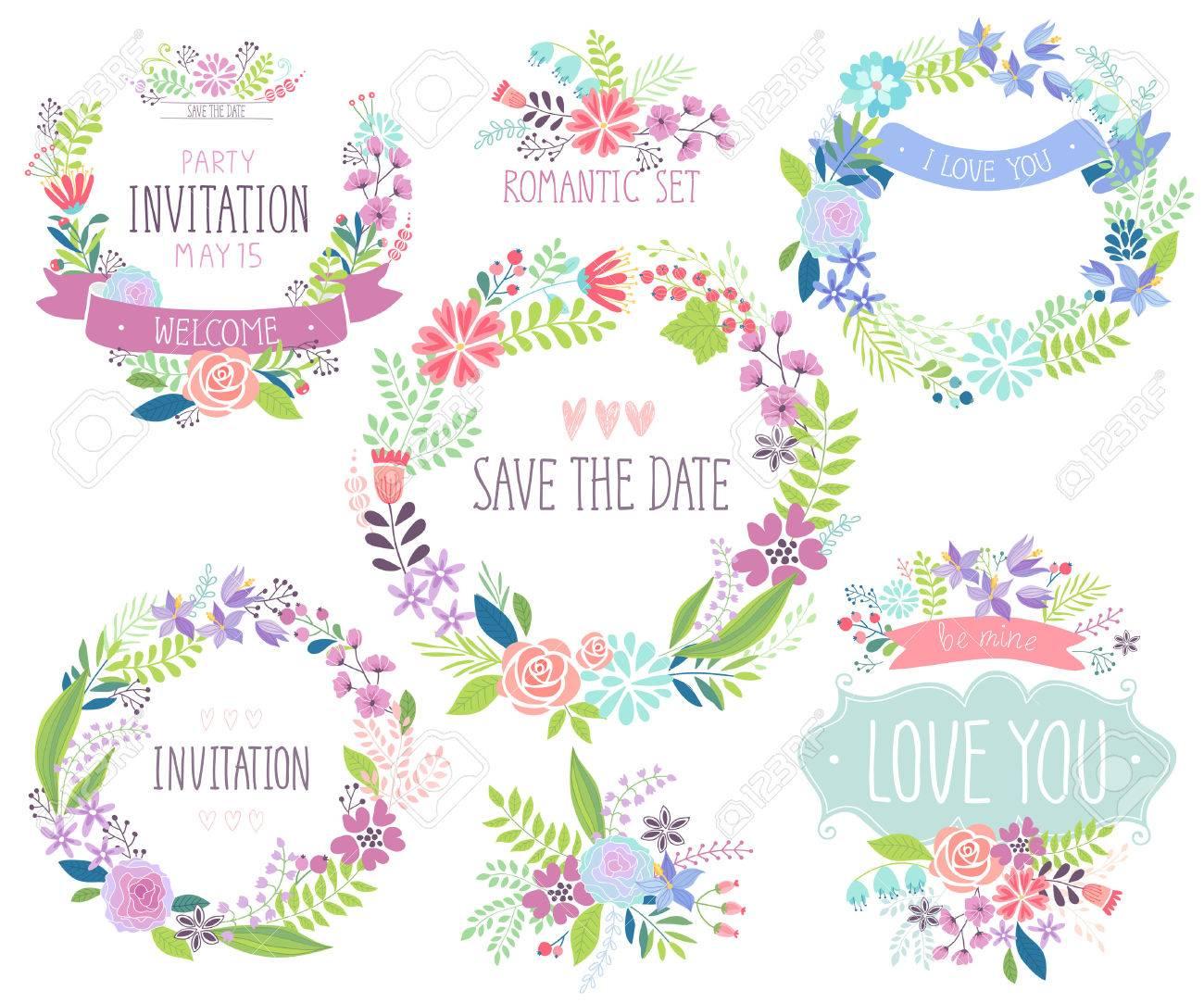 Floral hand drawn card set. Vector illustration. - 40209693