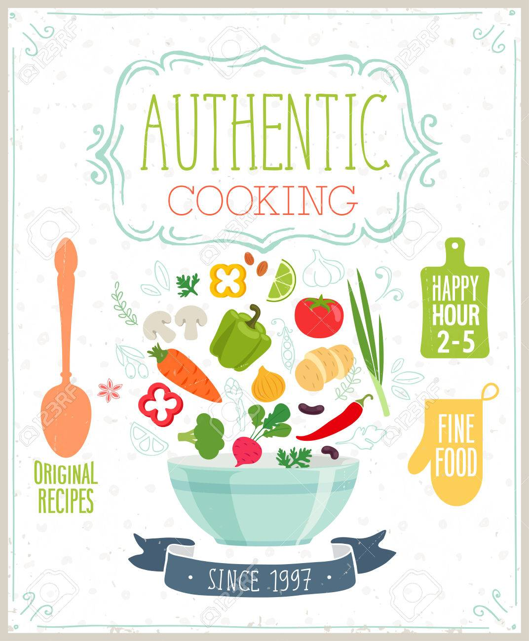 Authentic cooking poster. Vector illustration. - 40915797
