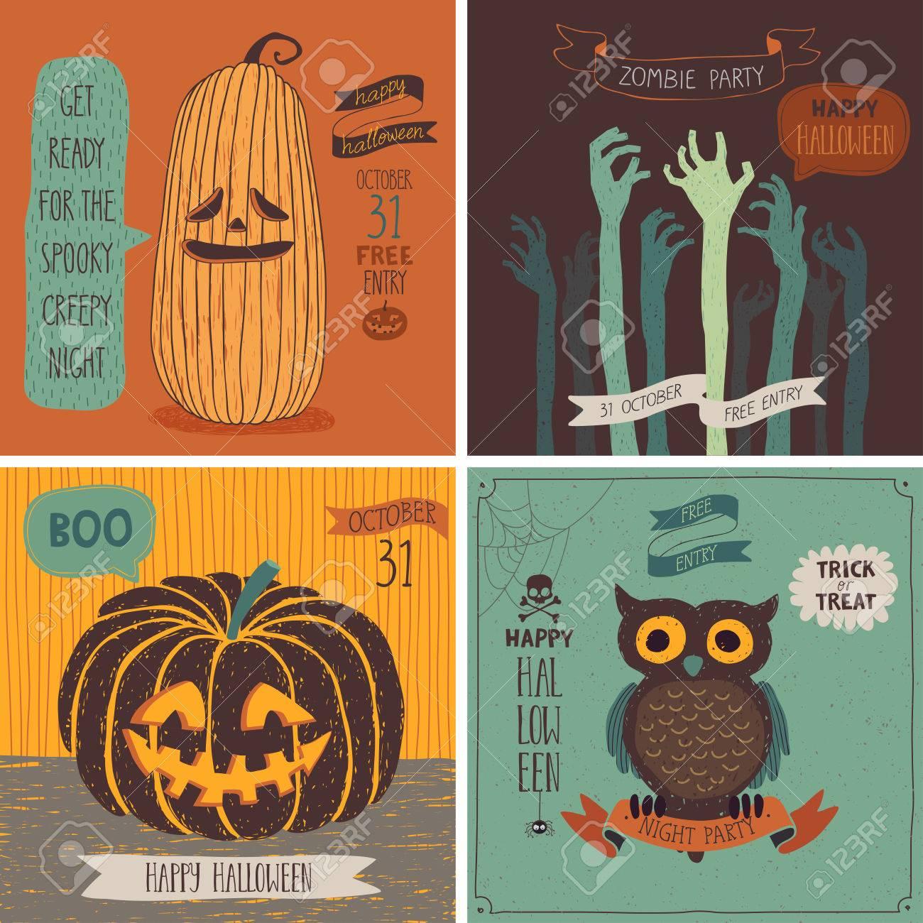 Halloween Cards set. Vector illustration. - 43705039