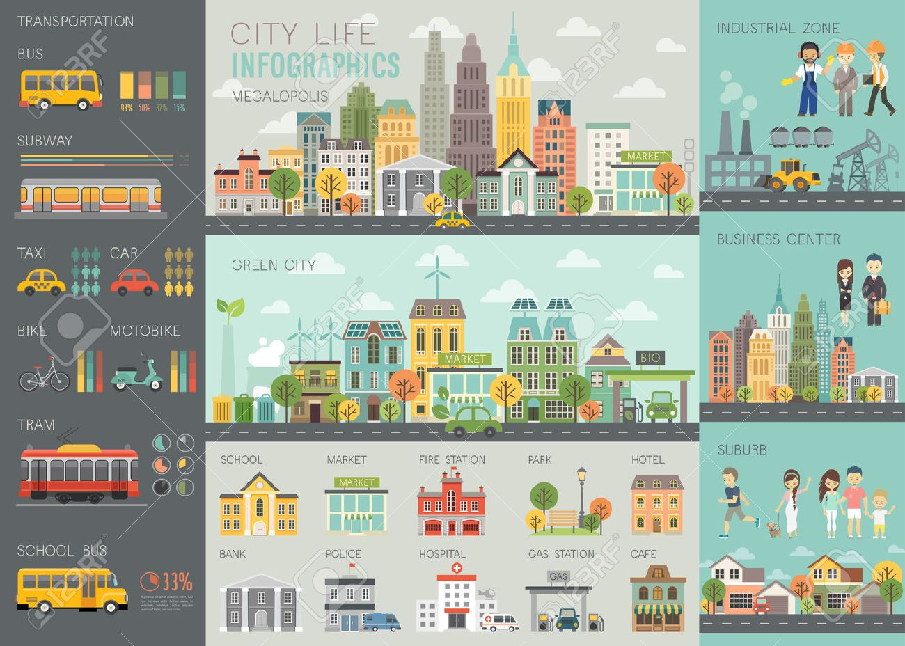 City life Infographic set with charts and other elements. - 53370629