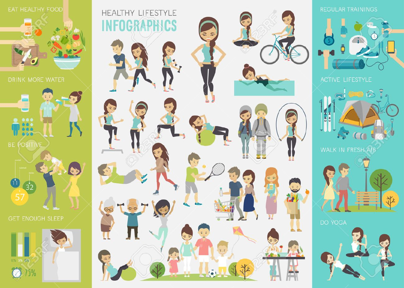 Healthy lifestyle infographic set with charts and other elements. - 53370641