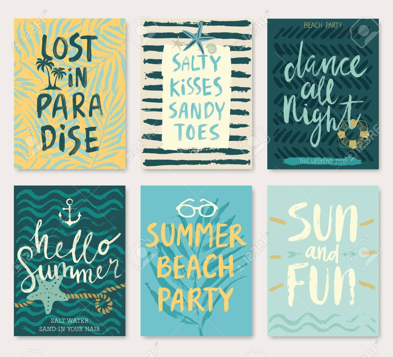 Summer hand drawn calligraphy card set. - 53370633