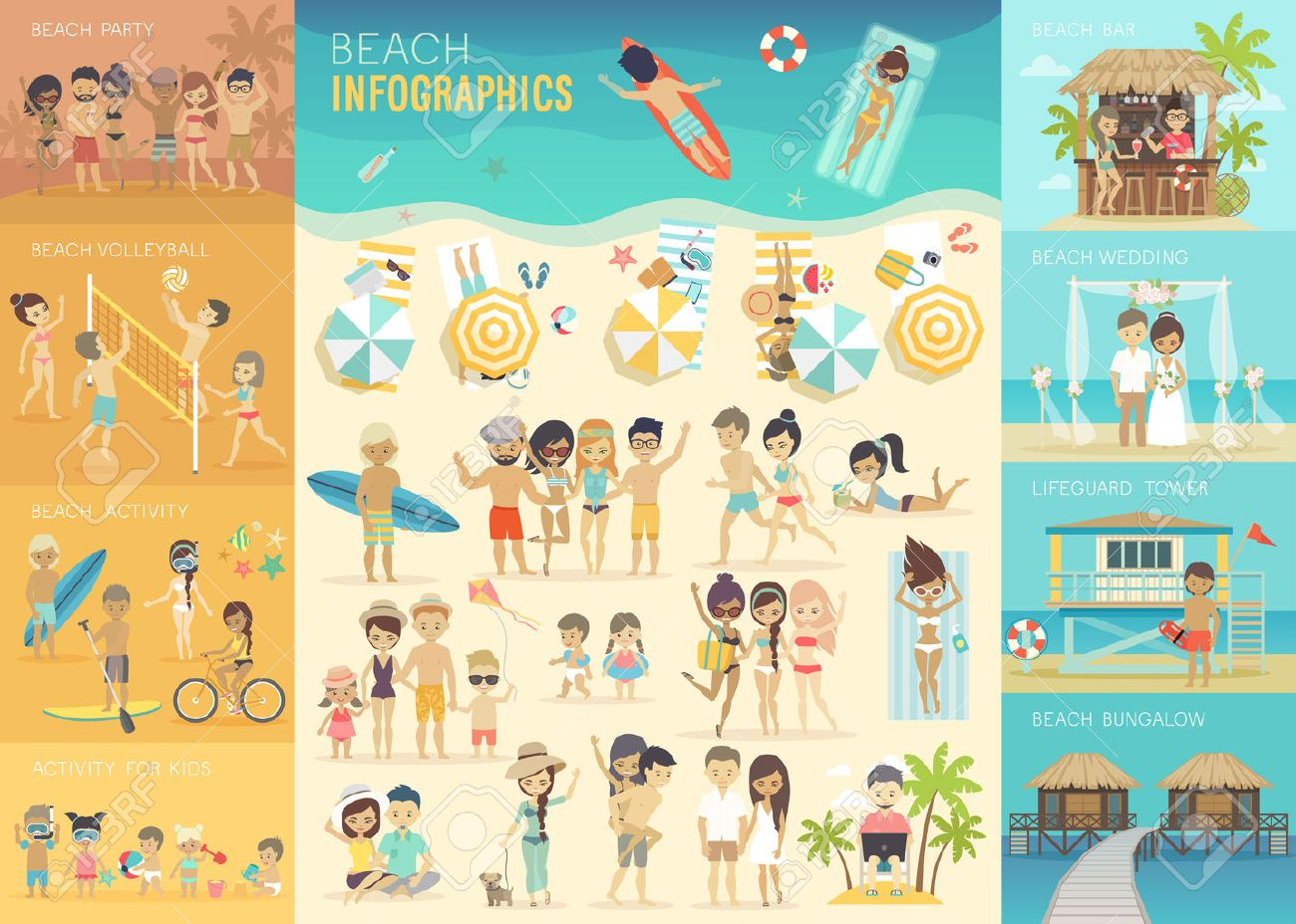 Beach Infographic set with charts and other elements. - 54023134